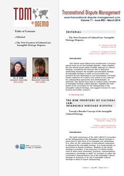 TDM 2 (2014 - The New Frontiers of Cultural Law: Intangible Heritage Disputes