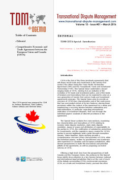 TDM 1 (2016 - Comprehensive Economic and Trade Agreement between the European Union and Canada (CETA)