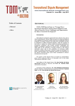 TDM 4 (2019 - OGEL/TDM Special Issue: FDI Operations and Investment Disputes in the African Extractive Sector...