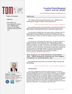 TDM 4 (2007 - The Hague 2004 Investment Seminar