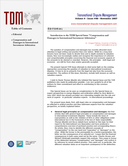 TDM 6 (2007 - Compensation and Damages in International Investment Arbitration