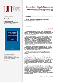 TDM 1 (2012 - A Liber Amicorum: Thomas Wälde - Law Beyond Conventional Thought